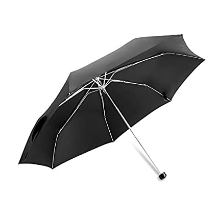 vanki Mini Trval Compact Umbrella UV Protection Ultra Light Windproof Rain Umbrella Black