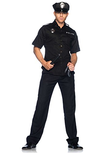 [Leg Avenue Men's 4 Piece Policeman Costume, Black, X-Large] (Halloween Costumes For 4 People)