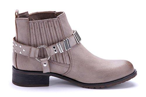Schuhtempel24 Damen Schuhe Klassische Stiefeletten Stiefel Boots Blockabsatz Nieten/Schlupf 4 cm Khaki