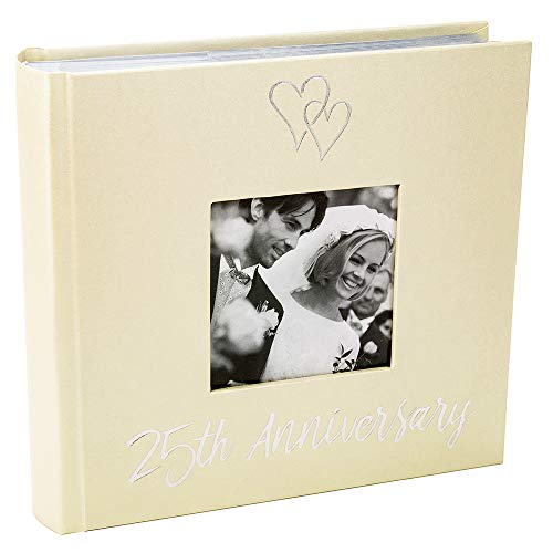 25th Anniversary Hearts - Haysom Interiors Lovely Silver 25th Wedding Anniversary Photo Album with Double Heart Decoration - Inner Lining Pages to Personalize by Happy Homewares