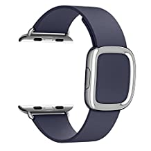 Apple Watch Band - FanTEK Modern Buckle Genuine Leather Replacement iWatch Strap for Apple Wrist Smart Watch 38mm Models (Midnight Blue)