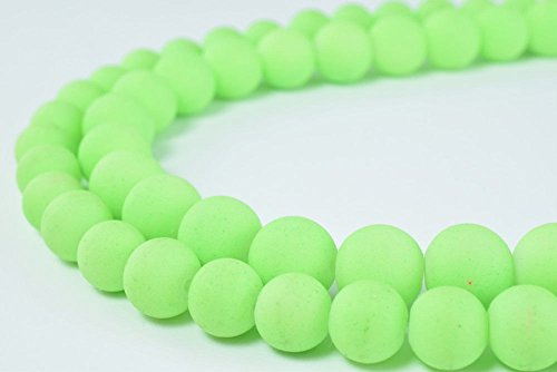 Glass Beads Matte Neon Green Rubber Over Glass Size 8mm Round for Jewelry Making Item#789222045975