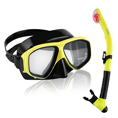 (ZMZ DIVE Dry Snorkel Set for Adults, Anti-Fog and Watertight Diving Silicone Yellow Mask with Adjusting Belt, Purge Valve Tube for Underwater Scuba Diving, Spearfishing, Freediving)