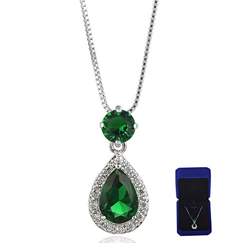 Meyome Womens Teardrop Shaped Cubic Zirconia Pendant Pierced Bridal Necklace in Platinum White Gold Plated (Green)