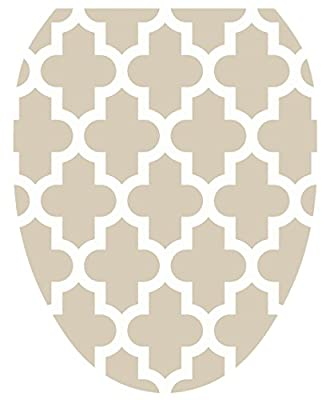 Toilet Tattoos, Toilet Seat Cover Decal, Taupe Quatrefoil, Size Elongated