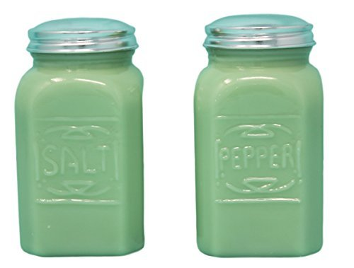 - Rhyne And Son Square Embossed Reproduction Style Salt and Pepper Shaker Set (Jadeite)