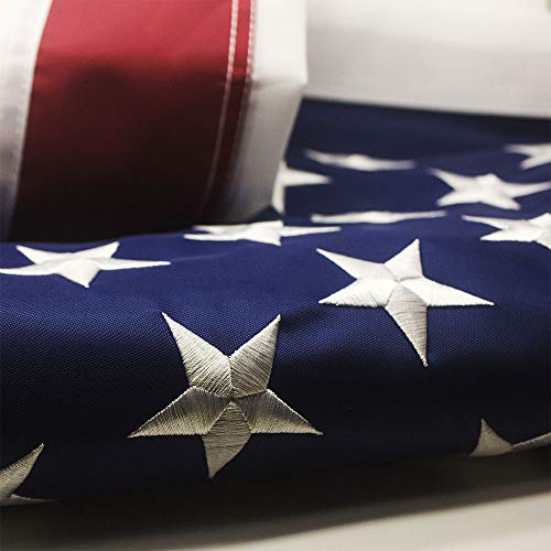 EBCW American Flag 3x5 ft- Featuring Embroider Stars and Sewn Stripes and Brass Grommets,UV Protected,300D Nylon Perfect for Outdoor Use.