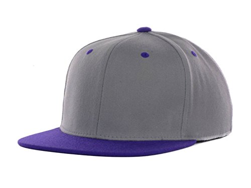 Top Of The World By Lids Stretch Fitted Blank Slam One-Fit Flex Baseball Hat Cap (Large/X-Large, Grey/Purple)