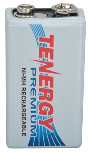 Tenergy 10005 Battery with Rechargeable Snap Terminals, NIMH 9V, 200 mAh, 1.94