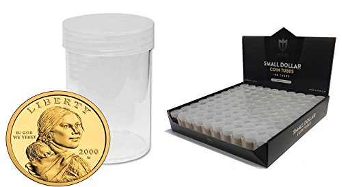 (50) Individual NEW Round Ultra Clear PREMIUM Plastic Sacagawea Presidential SMALL DOLLAR Coin Tubes with Screw On Caps by Max Pro Coin Supplies