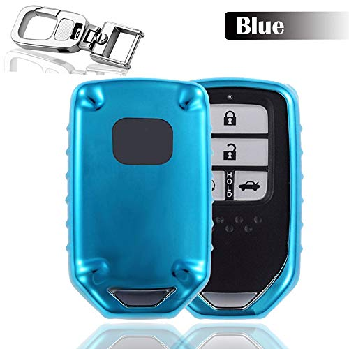 QBUC Car Remote Key Replacement Shell Remote Holder with Hook and Hyundai Set for Honda (Blue)
