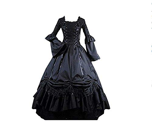 Hello-cos Womens Black Vintage Gothic Square Collar Victorian Party Dress (M)