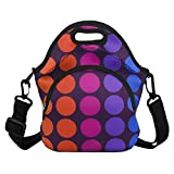 Lunch Bag Red Dots Reusable Neoprene Lunch Boxes with Detachable Strap Insulated Tote Bags, Extra Pocket School Travel Picnic Office for Women Girls,Red Purple Dots