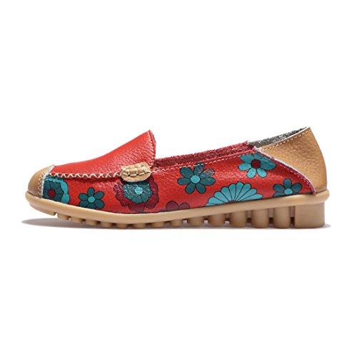 Donna Da Loafers Mocassini Guida Z Scarpe Pelle Comode In Rosso Moda suo 1HxEFRqan