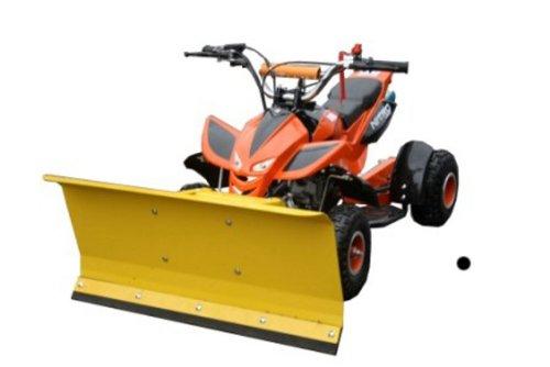Kinderquad Orange mit Schneeschieber / Max. 55 km/h / 3,5 PS / 49 cm³ / 2-Takter / 1-Zylinder / Automatik / Luftgekühlt / Seilzug-Starter / Ketten-Antrieb / Schneeschild Schneeräumer Quad ATV