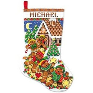 Gingerbread Man Stocking Counted Cross Stitch Kit - 17 Long 14 -