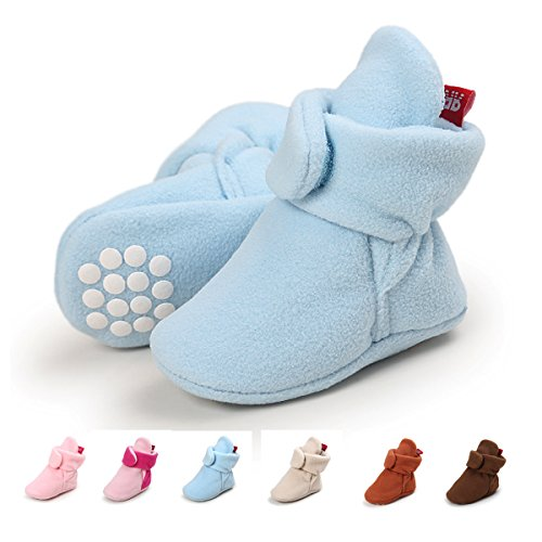 SOFMUO Baby Boys Girls Fleece Booties - Cotton Lining Anti-Slip Infant Warm Winter Crib Shoes(Light Blue,6-12 Month)