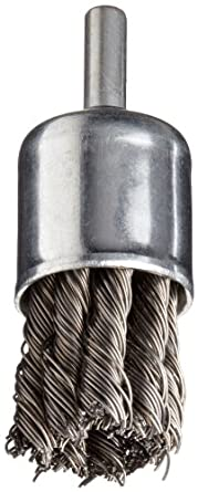 """Norton Stem Mounted Knotted End Brush, Carbon Bristles, 0.020"""" Wire Size, 1/4"""" Shank Diameter, 1"""" Diameter (Pack of 1)"""