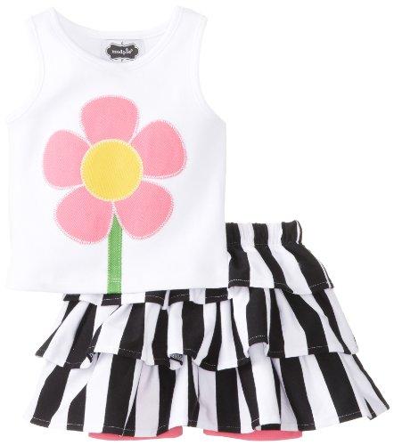 White Cotton Bold Floral Skirt - 9