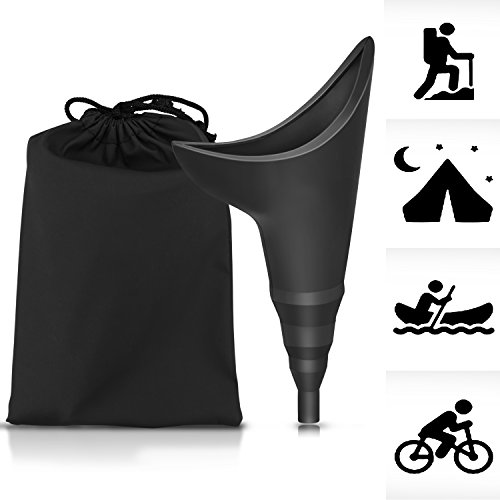 Female Portable Urination Device -Lets You Pee Standing Up - Lightweight Silicone Portable Travel Urinal- Perfect for Camping, Traveling, Hiking,Climbing, Festivals- Includes Carry Bag (Black)