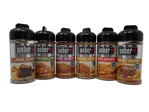 Weber Grill Seasoning Bundle, Steak'n Chop, Roasted Garlic & Herb, Smokey Mesquite, Beer Can Chicken, Kick'n Chicken, Gourmet Burger, 5-6 Ounce (Pack of 6)