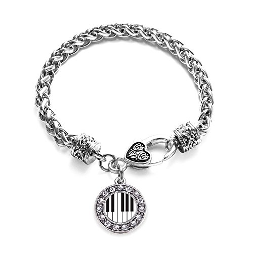 Inspired Silver Piano Keys Circle Charm Braided Bracelet Silver Plated with Crystal Rhinestones (Link Circle Plated)