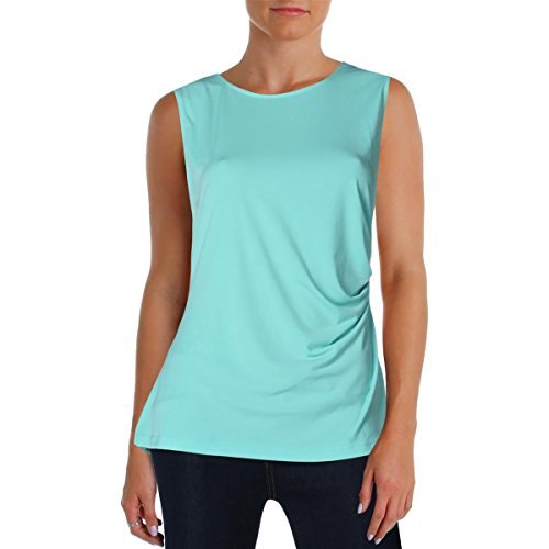 Tommy Hilfiger Womens Ruched Sleeveless Blouse Blue ()