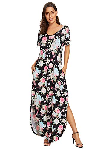 Verdusa Women's Casual V Neck Side Split Beach Long Maxi Dress Floral Printed M