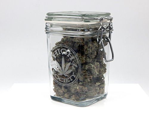 Dope Jars - Herb Storage, Swing Top Stash Jar - with Dope Designs Deep Etched (Large, High Society)