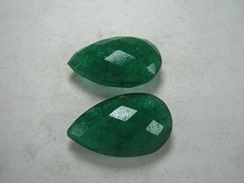 Loose Genuine Emerald Briolettes, 15x25 mm Teardrop Briolette Beads, 2 Stones Listing (25mm Faceted Briolette Bead)