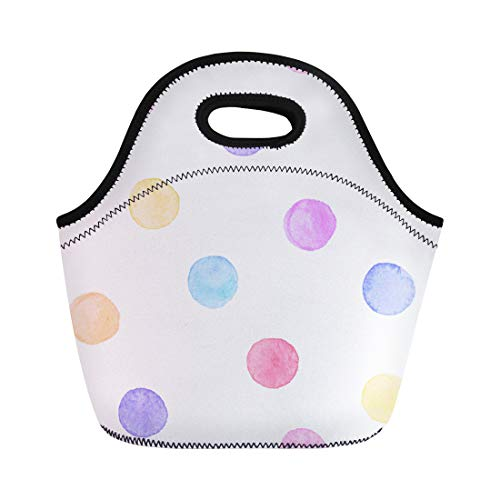 Semtomn Neoprene Lunch Tote Bag Polka Dot Watercolor Aquarelle Circles in Pastel Colors Pink Reusable Cooler Bags Insulated Thermal Picnic Handbag for Travel,School,Outdoors,Work