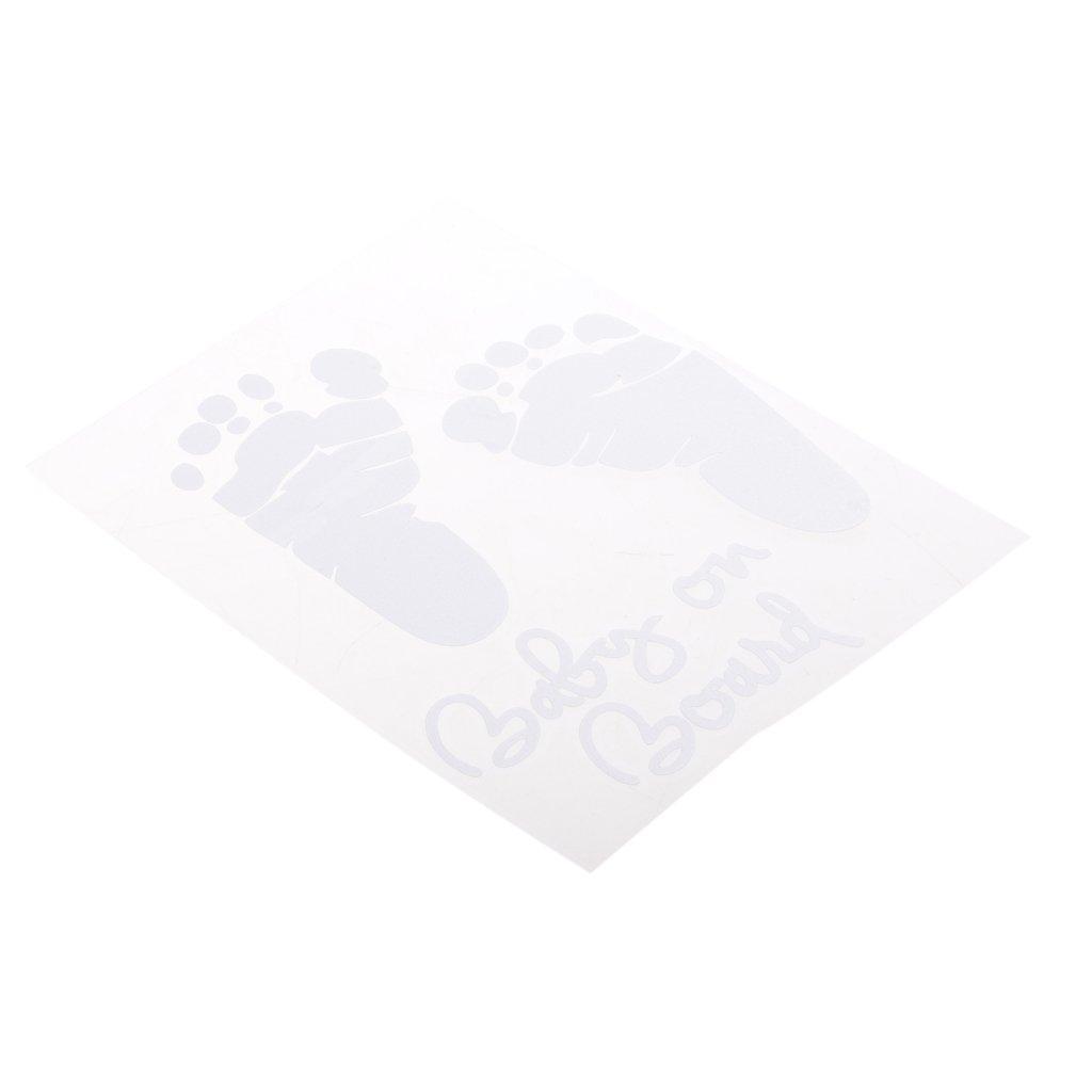 Baoblaze BABY ON BOARD Baby Footprint Vinyl Car Graphics Window Vehicle Sticker White - White