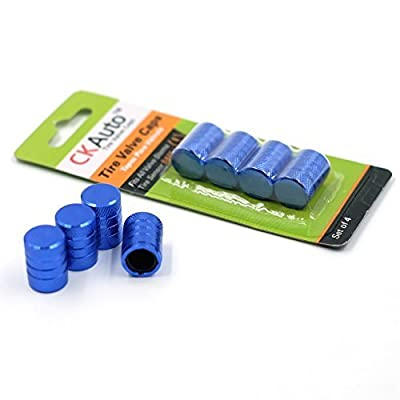 CKAuto 4 pcs Tire Valve Stem Caps/Blue: Automotive