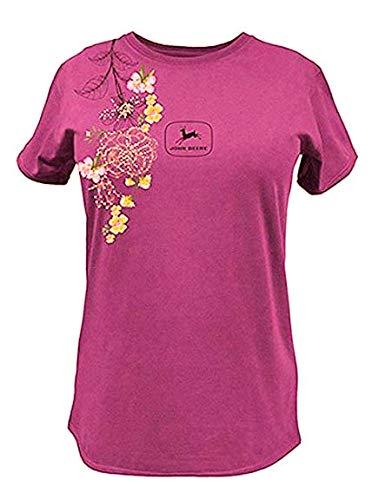 John Deere Western Shirt Womens Embroidered T-Shirt 23625221-Fuchsia-large