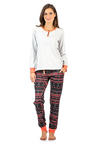 Ashford & Brooks Women's Cotton Henley with Sweater Fleece Pants Pajama Set - LH Grey Coral Charcoal - XX-Large - Cotton Fleece Henley