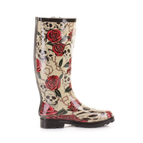 Skulls Roses Festival and 4 SIZE Womens Boots Wellies UwqCcdwHP