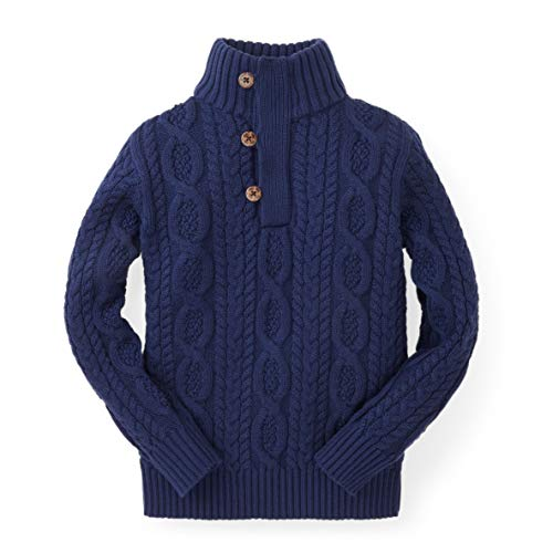 Hope & Henry Boys Navy Cable Mock Neck Sweater with Button ()