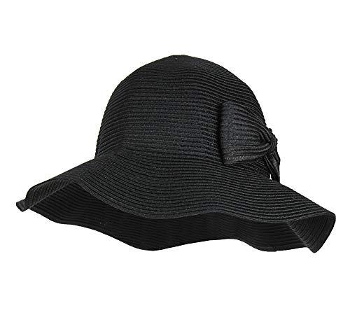 Black Waterproof Floppy Sun Hat w/UPF 50+ & Bow - Packable Crusher Rain Cap