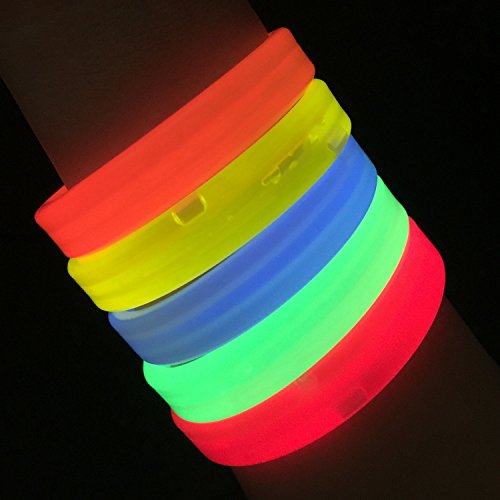 "Glow Sticks Bulk Wholesale Wristbands, 25 9"" Triple-Wide Glow Bracelets, Assorted Bright Colors, Glow 8-12 Hrs, 25 Connectors Included, Glow Party Favors Supplies, Sturdy Packaging, GlowWithUs Brand"