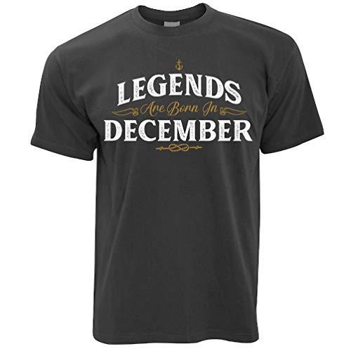 Birthday T Shirt Legends are Born in December Dark Grey L