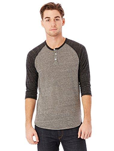 Alternative Men's Raglan 3/4 Sleeve Henley Shirt, Grey/Black, Medium (Henley Baseball Tee)