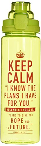 Christian Art Gifts Keep Calm Lime Green Plastic Water Bottle - Jeremiah 29:11