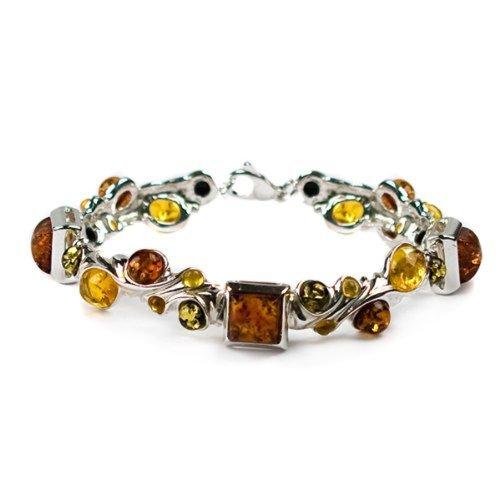 Multicolor Amber Sterling Silver Large Designer Bracelet 7.5