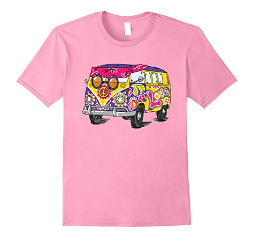 60s 70s Fashion (Mens Retro Hippie Bus T-Shirt - Flower Power of the 60s & 70s Medium Pink)