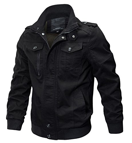 WULFUL Men's Cotton Military Jackets Casual Outdoor Coat Windbreaker Jacket Black L