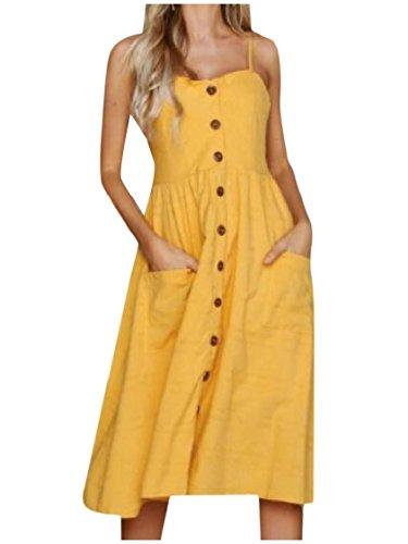 Bouton Coolred-femmes Pur Lin Couleur Écharpe Pleine Backless Robe Longueur 7