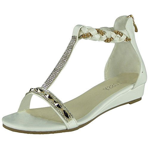 Loud Look Womens Studded Gladiator Sandals Ladies T-Bar Comfy Low Wedge Heel Shoes Size 3-8 White Uva4jB
