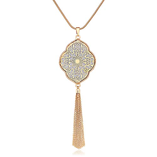 ALEXY Long Necklace for Women Quatrefoil Pendant Necklaces Long Chain Necklaces Bohemia Tassel Necklaces Y Necklace for Girls (G 1PC Gold)