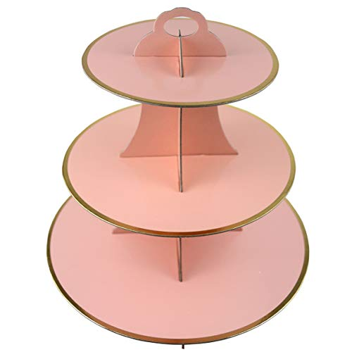 3-Tier Cardboard Cupcake Stand/Tower 1-Set (Pink) -