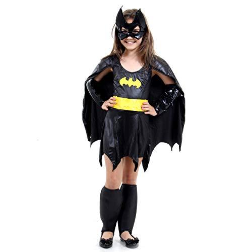 Fantasia Bat Girl Luxo Infantil Sulamericana Fantasias Preto P 3/4 Anos